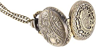 Vintage Pocket Watch Bronze Color Quartz Watch Cool Chain Hollow Owl Cover Watches LL@17