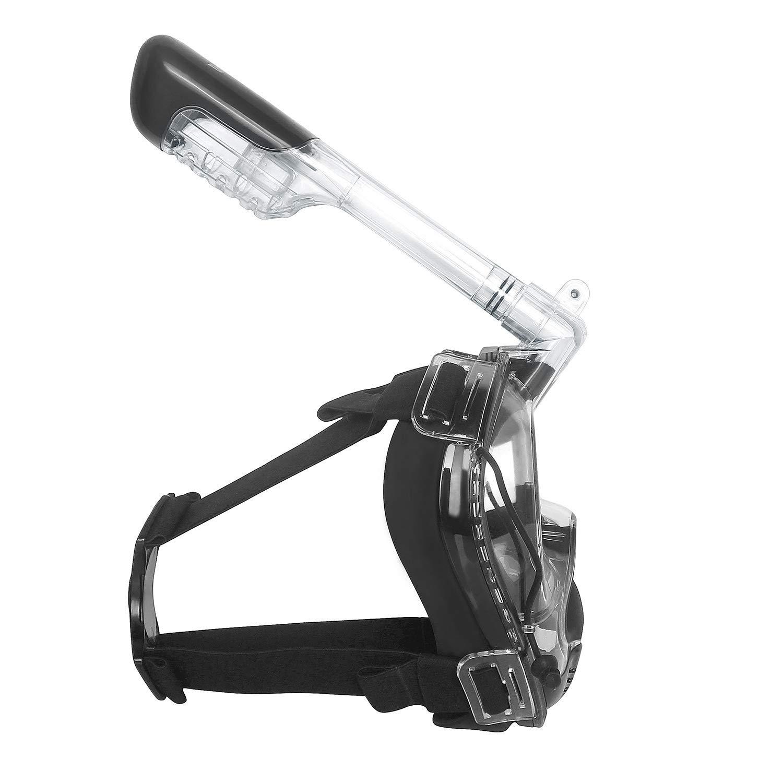 Unigear M/áscara De Buceo 180/° Vista Panor/ámica Facial Completa con Soporte para C/ámara Deportiva Tubo Respirador Plegable Anti-Vaho Anti-Fugas Gafas Snorkel Pack Nataci/ón