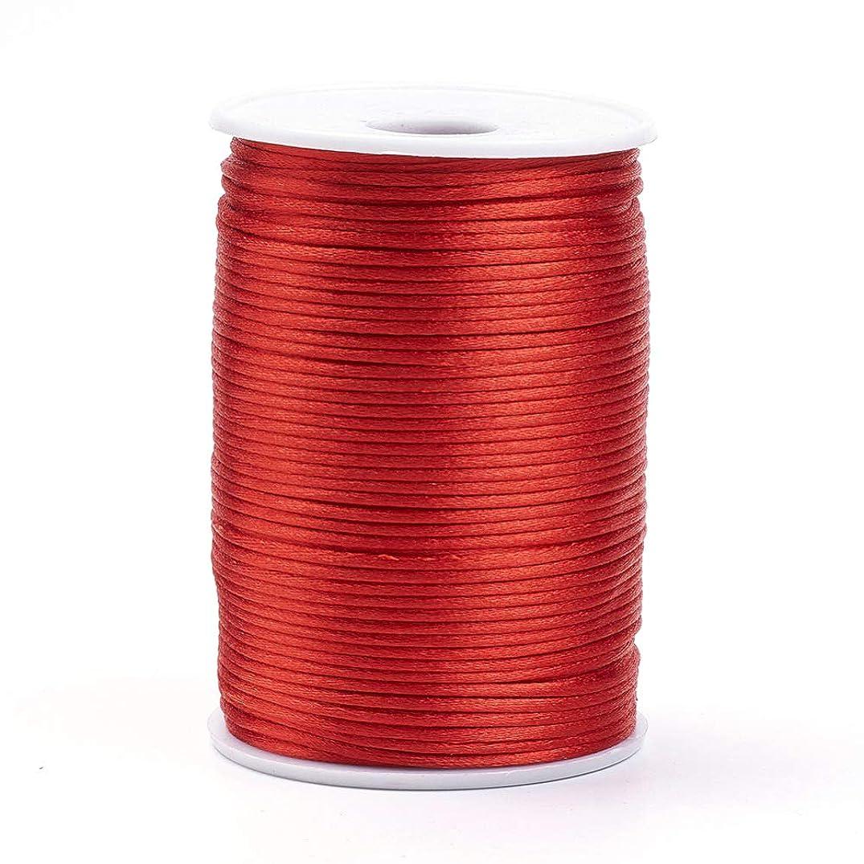 Pandahall 80 Yards/Roll 2mm Rattail Satin Cord Polyester Trim Chinese Knotting Shamballa Macrame String for Bracelet Jewelry Making (Red)