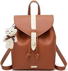 TYPIFY® PU Leather Teddy Keychain Preppy Style Women Backpack
