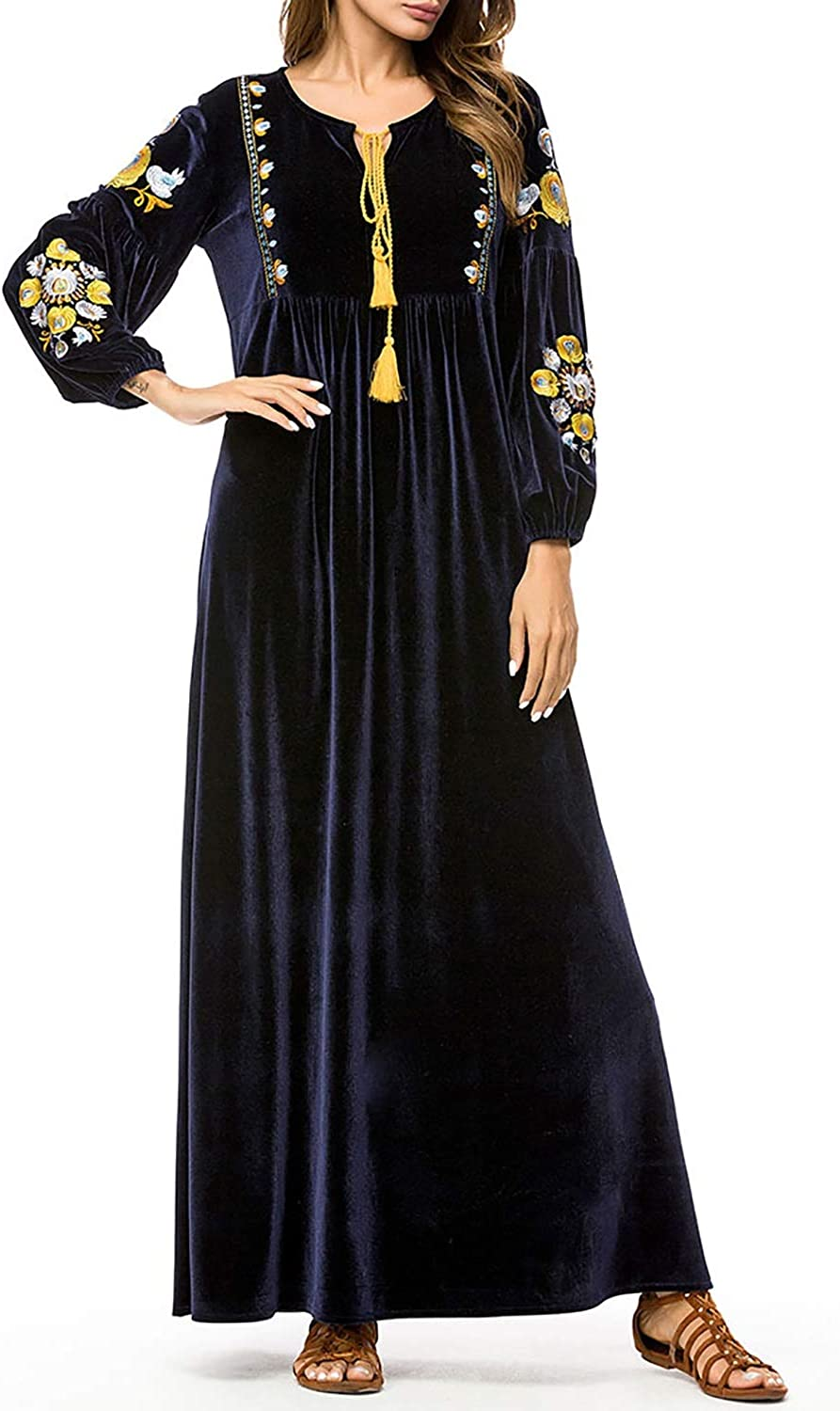 CEFULTY Women's ONeck Floral Embroidery Velvet Long Dress with Tassel Tie (color   Navy, Size   M)