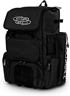 """Boombah Rolling Superpack Baseball/Softball Gear Bag - 23-1/2"""" x 13-1/2"""" x 9-1/2"""" - Telescopic Handle and Holds 4 Bats - Wheeled Version"""