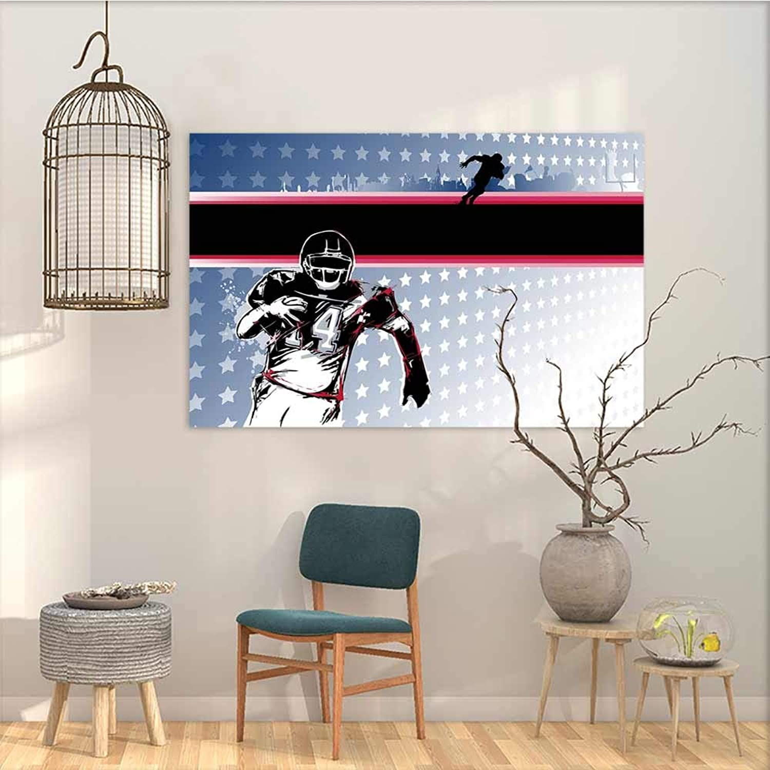 Oncegod Sticker for Decoration Americana Decor Baseball American Football Player Running in The Field with Stars Pattern Modern Decorative Artwork Multicolor W47 xL31