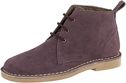 Ladies Classic Suede Leather Desert Boots Plum 7