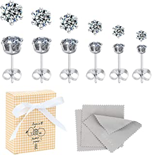 Premium Upgraded Stainless Steel Round Clear Cubic Zirconia Stud Earring Set for Hypoallergenic Multi-Piercing Ears of Men, Women, Boys & Girls (6 Pairs in A Set)