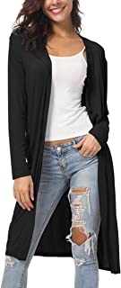 Women's Casual Split Button Open Front Long Cardigan with Pockets