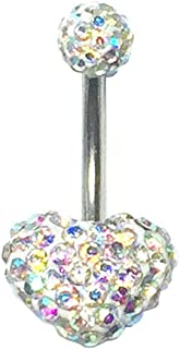 Surgical steel Navel Belly Button Ring Barbell Rhinestone Crystal Heart Piercing   Color - Clear AB