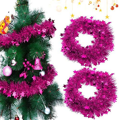 Sunshine smile 2 PCSWeihnachten Lametta Girlande,2 M Metallische Girlanden,Glänzend Weihnachtsbaum Ornamente,Weihnachten Lametta,Weihnachten Girlande Metallisch,Festliches Weihnachten Lametta(Rosa)