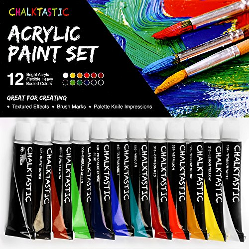 Quality Acrylic Paints - Best Acrylic Paint Set For Painting Canvas, Wood, Fabric, Clay, Ceramics, Glass, Nail Art & Crafts 12X12ml Carefully Selected Colors � Great For Beginners, to Hobby Painters