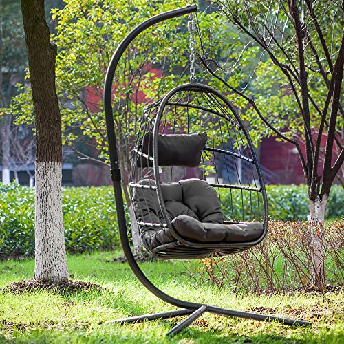 Brafab Swing Egg Chair,Hammock Chair, Hanging Chair, Aluminum Frame and UV Resistant Cushion with Steel Stand, Indoor Outdoor Patio Porch Lounge Hand Made Wicker Rattan Chair, 350LBS Capacity