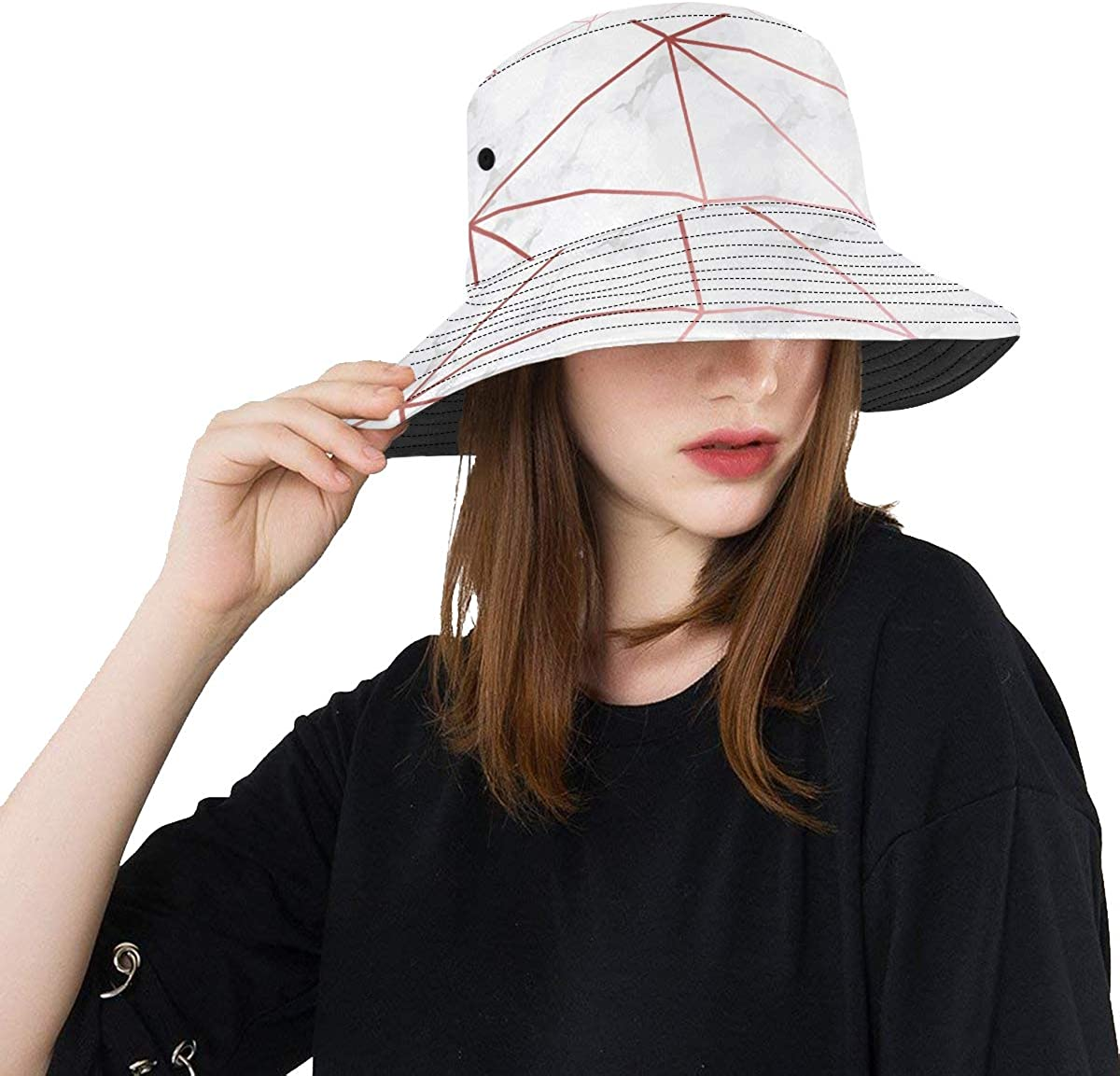 OFFicial store Toddler Girl Beach Hat Marble New product! New type Gold Summer Texture Geometric Rose