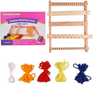 (With Detailed Instructions) Pandahall Wood Knitting Weaving Looms with Yarns, Warp Weft Adjusting Rods, Combs and Shuttles for Kids