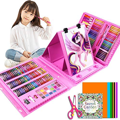 Deluxe Art Set for Kids, DIY Arts and Crafts, Ideal Educational Toy and Creativity Kit - 176 Pcs Drawing Art Box with Origami Paper,Card Stocks, Oil Pastels, Crayons, Markers, Best Gift for Kids, Pink