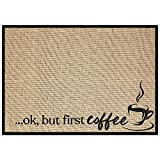 """New Mungo Coffee Bar Mat - Coffee Bar Accessories for Coffee Bar Decor - Coffee Decor for Coffee Station - Ok, But First Coffee Mat - Burlap Placemat with Fabric Backing - 20""""x14"""""""