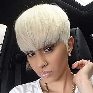 BeiSD Mixed Blonde White Wig Short Pixie Cuts Hair Wigs For Women Girls Short Wigs Heat Resistant Synthetic Wigs For Women