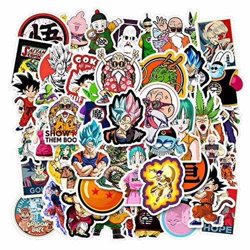 SGOT Anime Aufkleber, One Piece Stickers, Wasserdicht Vinyl Sailor Moon Stickers, Anime Decals für Auto Motorräder Gepäck Skateboard Laptop Aufkleber(50 Stück Dragonball)