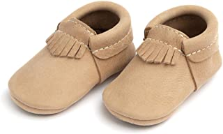 Rubber Mini Sole Leather City Moccasins - Toddler Girl Boy Shoes - Infant/Toddler Sizes 3-7 - Multiple Colors