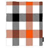 Moslion Gingham Soft Throw Blanket 30x40 Inch Orange Black White Stripes Buffalo Check Plaid Blanket Flannel Warm Travel Blankets for Pet Dog Cat