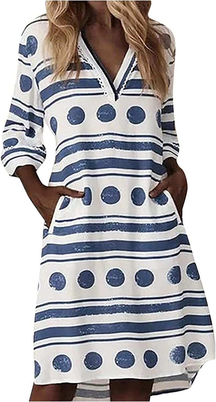 Eoailr Women's V OFFicial store trend rank Neck Mini Dress Shirt Dresses F Casual Summer T
