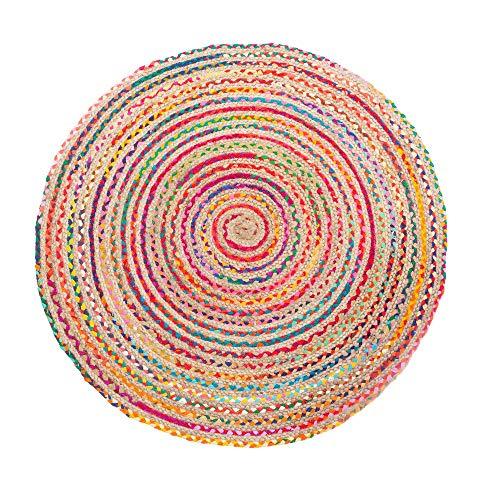 Lola Home Alfombra exótica Redonda Trenzada Multicolor de Yute de ø 120 cm