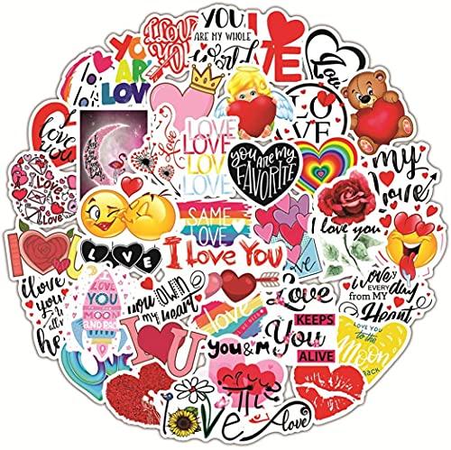FANDE Pegatinas de Amor, 100 Pegatinas de Graffiti de Amor de San Valentín de Dibujos Animados, Portátiles Decorativos de Bricolaje, Botellas de Agua, Maletas, Patinetas