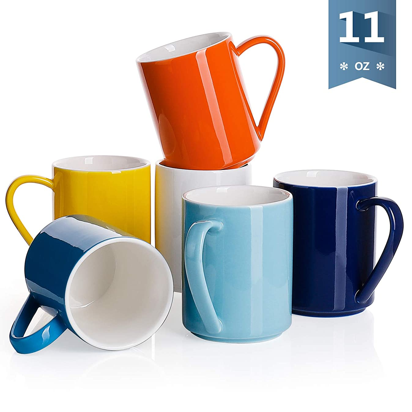 Sweese 6213 Porcelain Coffee Mug Set - 11 Ounce for Coffee, Tea, Cocoa and Mulled Drinks - Set of 6, Hot Assorted Colors
