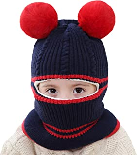 Cat Ear Baby Girls Boys Winter Hat Toddler Knitted Hood Scarf Beanies with Fleece Lining