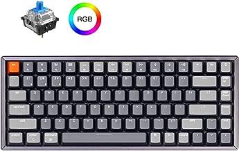 Keychron K2 Wireless Bluetooth/USB Wired Gaming Mechanical Keyboard, Compact 84 Keys RGB LED Backlit Blue Switch N-Key Rollover, Aluminum Frame for Mac Windows