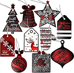Image: 120 Christmas Gift Tags with Ribbon Tie Strings Attached 10 Elegant Red Foil Black and White Designs Personalized Holiday Name Tag Labels Write On to and from for Gift Bags Wrapping Presents and Packages