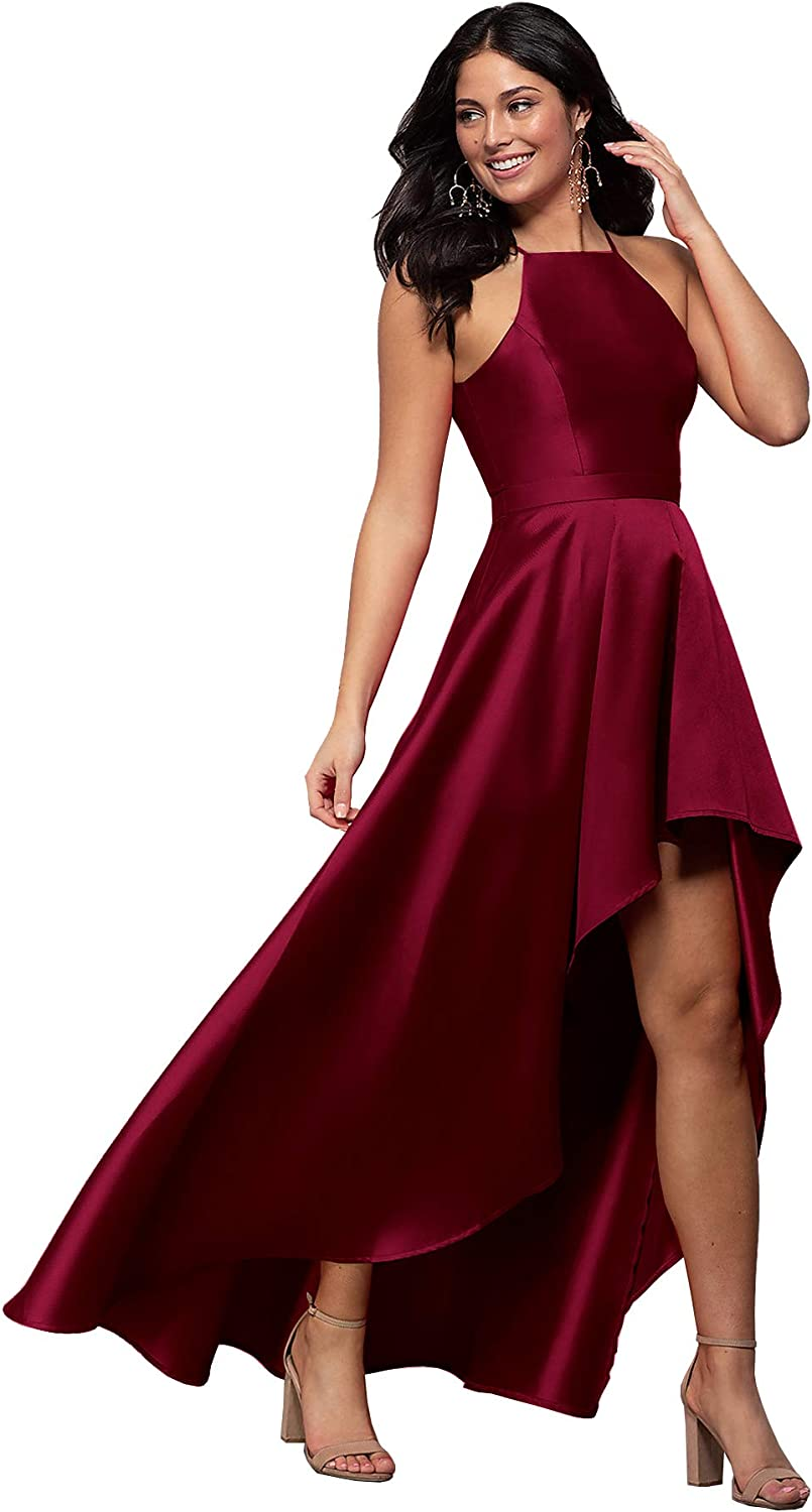 Beauty Bridal Women's Halter Aline Satin Evening Prom Dress Long Formal Gown with Pockets Z42