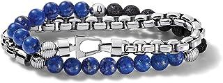 Bulova Mens Classic Double-Wrap Lapis, Black Lava and Stainless Steel Bead and Box-Chain Bracelet (Model J96B024M)