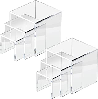 """NIUBEE 2 Set Acrylic Risers Display for Funko POP Figures,Clear Cake Stands for Candy Dessert Table Decorations-3""""x4""""x5"""""""