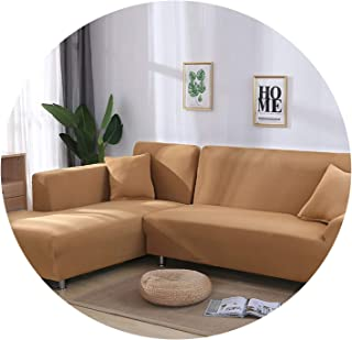 Amazing21 Gray Color Tight Wrap Sofa Cover Elastic Needs Order 2 Pieces Sofa Cover As L-Style Sectional Corner Sofa capa de Sofa,Camel,3-Seater 190-230cm