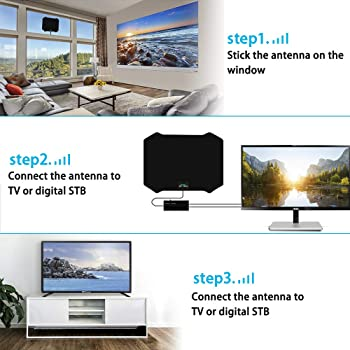 [Newest 2020] TV Antenna, Amplified HD Indoor Digital TV Antenna 200 Miles Long Range Signal Booster Support All 4K V...