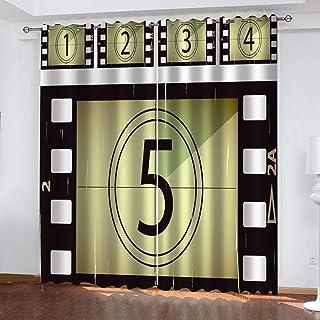 Bawangbieji Cortina Ojales Cortina Opaca Moderna Termicas Aislantes para Niños y Ventanas de Salón Dormitorio 2 Piezas-Cuenta regresiva-W168X229cmX2 Panel