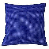 Kissenbezug 40x40 cm Punkte 2 mm Weiß auf Kobalt Blau (Deko, Sofa, Bett, Kissen, Kissenhülle)