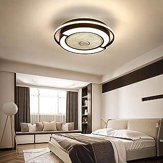Ventilador de techo de 23 pulgadas, 58 cm, 45 W, con lámpara, mando a distancia, lámpara de techo con ventilador, lámpara de araña grande, color negro, regulador tricolor