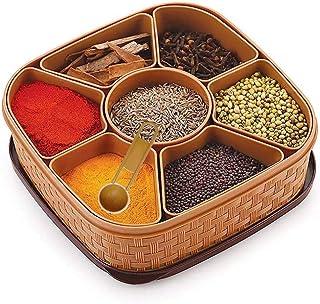 Oblivion Masala Rangoli Box Dabba for Keeping Spices | Spice Box for Kitchen | Plastic Wooden Style Masala Box | Masala Co...
