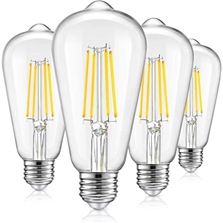 Vintage LED Dimmable Edison Light Bulbs 100W Incandescent Equivalent, 8W 1200Lumens, E26 Base LED Filament Bulb, 5000K Daylight White, ST64/ST21 Antique Clear Glass for Home, Reading, Bathroom, 4-Pack