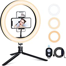"""ESDDI 10"""" LED Ring Light with Tripod Stand & Dimmable Brightness, Selfie Ring Light with Phone Holder for Live Streaming, Makeup, YouTube, Photography"""