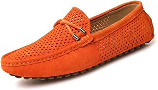 Shoes Comfortable Hollow Mens Shoes Leather Breathable Soft Lazy Shoes Peas Shoes Mens England Casual Shoes Fashion (Color : Orange, Size : 44)