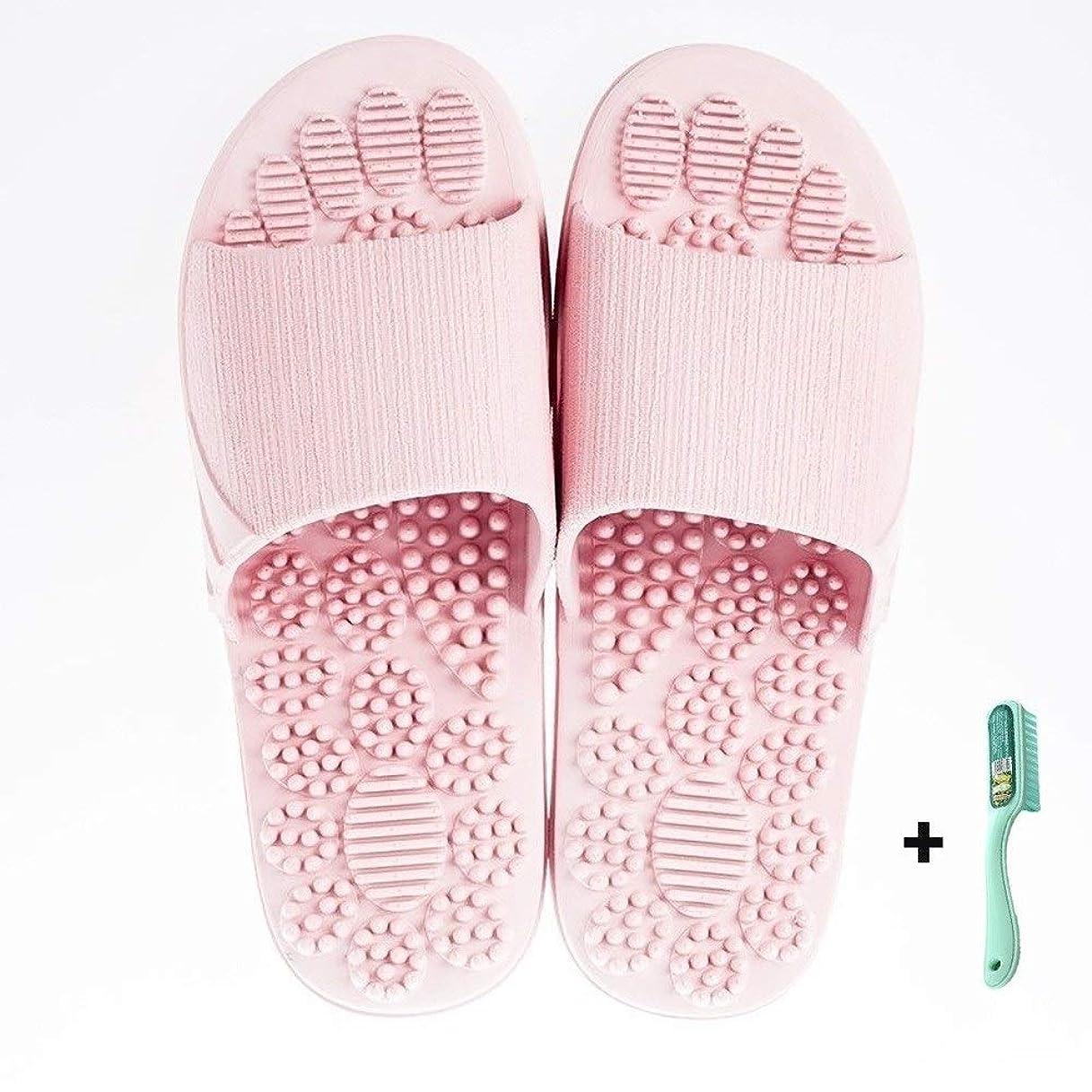 マッシュ古くなったミッション2019新型スリッパ、室内バスルームのスリッパ、足のマッサージ滑り止めの柔らかいプラスチック夏季のスリッパ、足つぼ、スリッパ (Pink, 40-41)