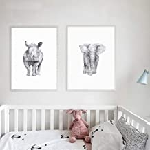 Mural Black White Rhinoceros Elephant Animal Poster Canvas Print Painting Wall Art Kid's Room Home Decoration 50x70cmx2 Un...