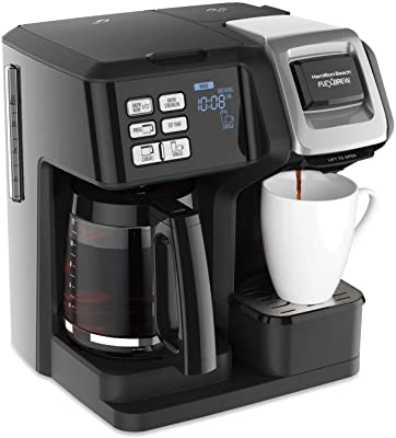 Hamilton Beach 49976 FlexBrew Trio 2-Way Single Serve Coffee Maker & Full 12c Pot, Compatible with K-Cup Pods or Grounds, Combo, Black