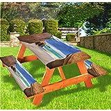 LEWIS FRANKLIN - Cortina de ducha para playa de lujo de picnic, mantel ajustable con borde elástico tropical Dreamy Ocean Sand de 70 x 72 pulgadas, juego de 3 piezas para mesa plegable