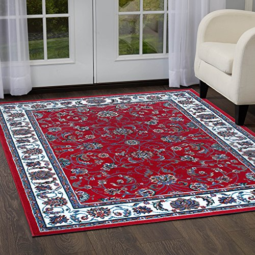 Home Dynamix Premium Muse Area Rug by Traditional Style Living Room Area Rug | Persian-Inspired Design with Floral Vine Border | Classic All-Over Print | Red, Cream 7'8 x 10'7