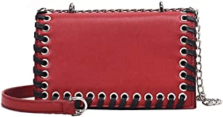 Fashion Women's Bags PU(Polyurethane) Crossbody Bag Buttons Solid Color Black/Silver/Red (Color : Red)