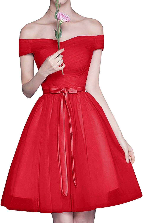 La/_mia Braut Rosa Tuell Schulterfrei Cocktailkleider Abendkleider Brautjungfernkleider Mini A-Linie Rock