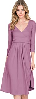 CLOVERY Women's 3/4 Sleeve Deep V-Neck Top Loose Fit Flare Dress with Plus Size