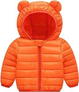 f8bdd38e99ff Baby Boys Girls Down Cotton Coat with Bear Ear Jacket Lightweight Windproof  Zip Up Hooded Coat